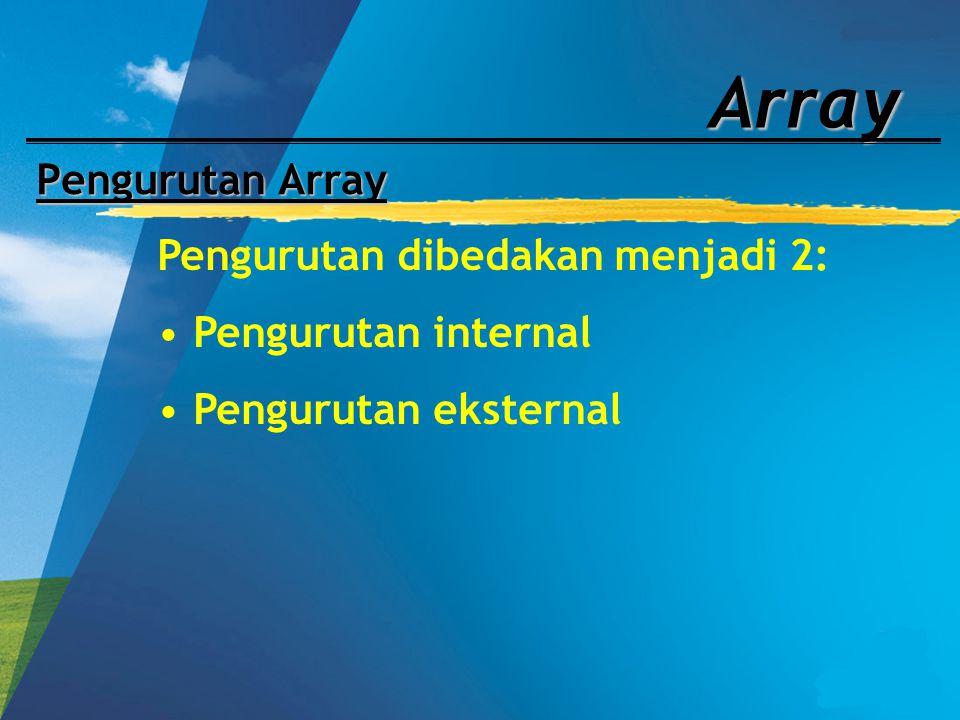 Array Pengurutan Array Pengurutan dibedakan menjadi 2: Pengurutan internal Pengurutan eksternal