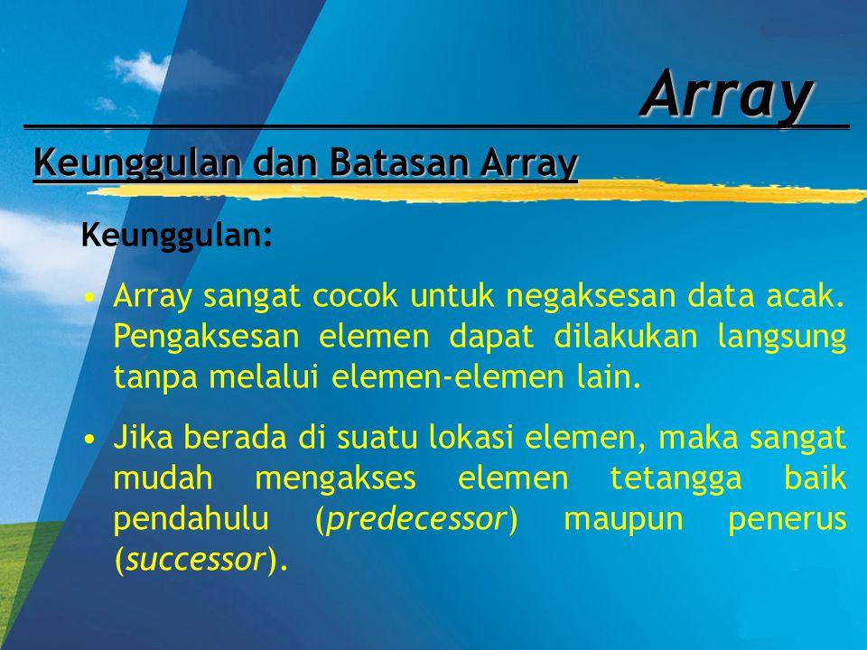 Array Keunggulan dan Batasan Array Keunggulan: Array sangat cocok untuk negaksesan data acak. Pengaksesan elemen dapat dilakukan langsung tanpa melalu