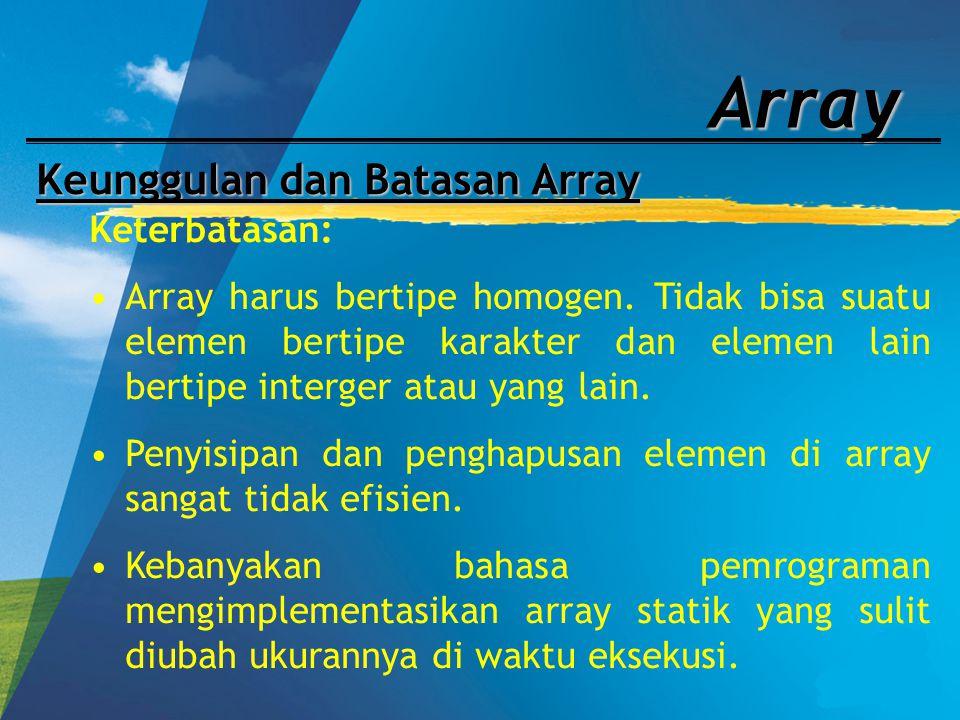 Array Keunggulan dan Batasan Array Keterbatasan: Array harus bertipe homogen. Tidak bisa suatu elemen bertipe karakter dan elemen lain bertipe interge