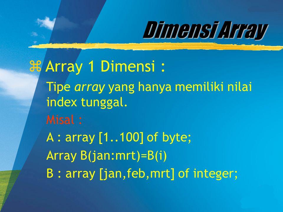 Dimensi Array zArray 1 Dimensi : Tipe array yang hanya memiliki nilai index tunggal. Misal : A : array [1..100] of byte; Array B(jan:mrt)=B(i) B : arr