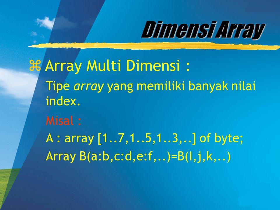 Dimensi Array zArray Multi Dimensi : Tipe array yang memiliki banyak nilai index. Misal : A : array [1..7,1..5,1..3,..] of byte; Array B(a:b,c:d,e:f,.