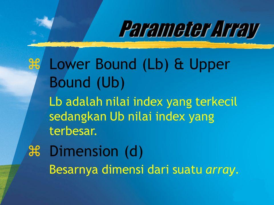 Parameter Array zLower Bound (Lb) & Upper Bound (Ub) Lb adalah nilai index yang terkecil sedangkan Ub nilai index yang terbesar. zDimension (d) Besarn