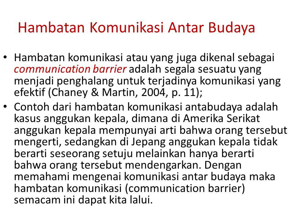 Hambatan Komunikasi Antar Budaya Hambatan komunikasi atau yang juga dikenal sebagai communication barrier adalah segala sesuatu yang menjadi penghalan