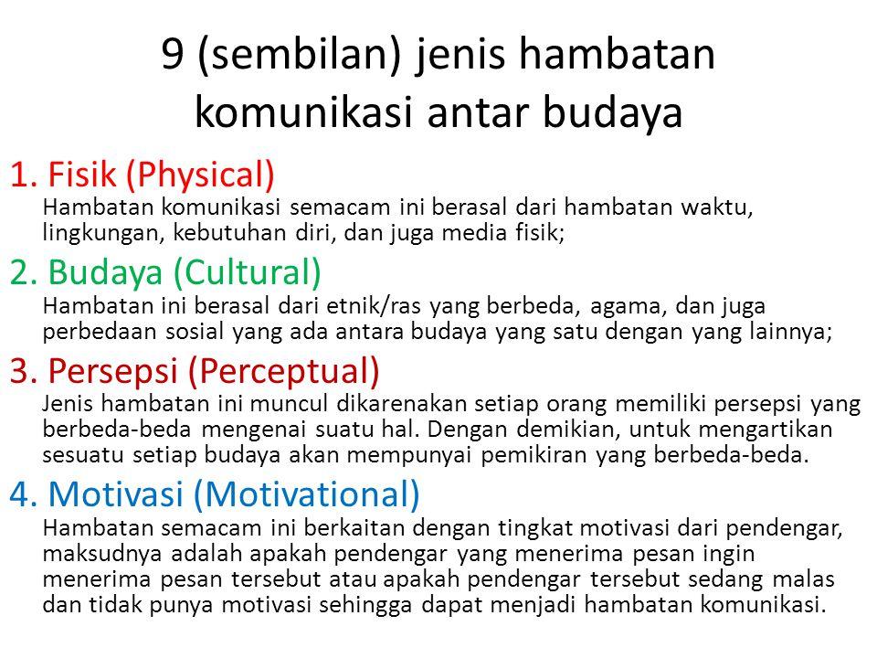 9 (sembilan) jenis hambatan komunikasi antar budaya 1. Fisik (Physical) Hambatan komunikasi semacam ini berasal dari hambatan waktu, lingkungan, kebut