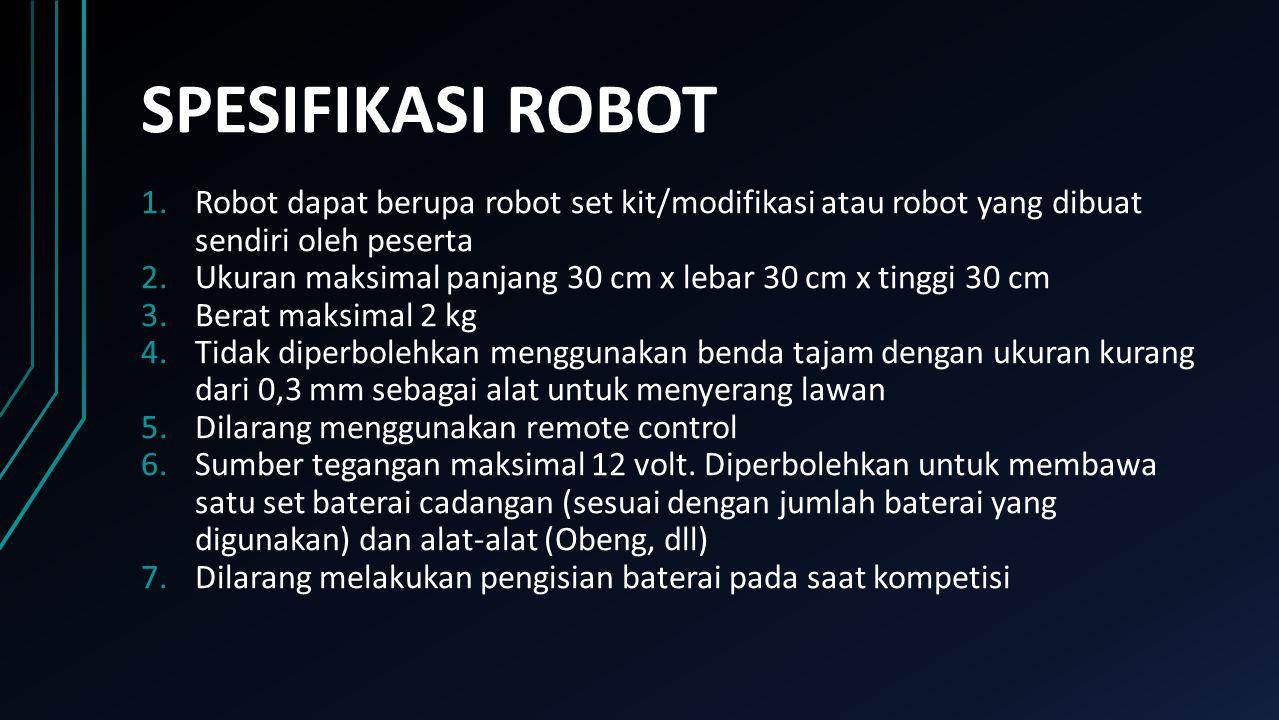 SPESIFIKASI ROBOT 1.Robot dapat berupa robot set kit/modifikasi atau robot yang dibuat sendiri oleh peserta 2.Ukuran maksimal panjang 30 cm x lebar 30