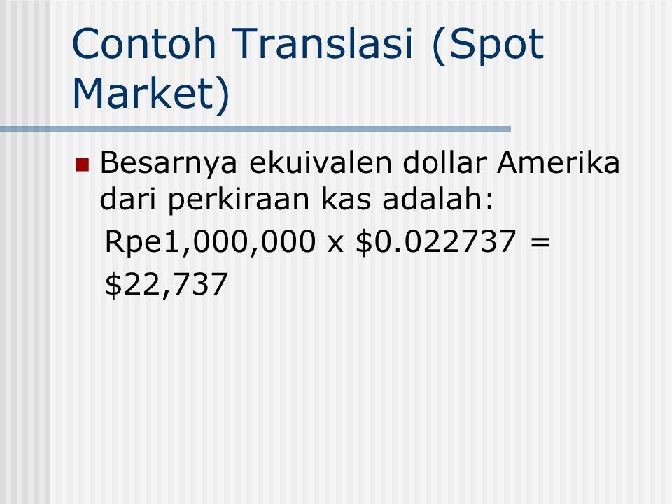 Contoh Translasi (Spot Market) Perusahaan Amerika Serikat yang memiliki cabang di Bombay, India menunjukkan perkiraan kas pada tanggal 31 Januari sebe