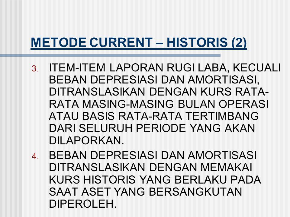METODE CURRENT – HISTORIS (1) 1. AKTIVA LANCAR DAN KEWAJIBAN LANCAR SEBUAH PERUSAHAAN ANAK DI LUAR NEGRI DITRANSLASIKAN KEDALAM VALUTA PELAPORAN PERUS