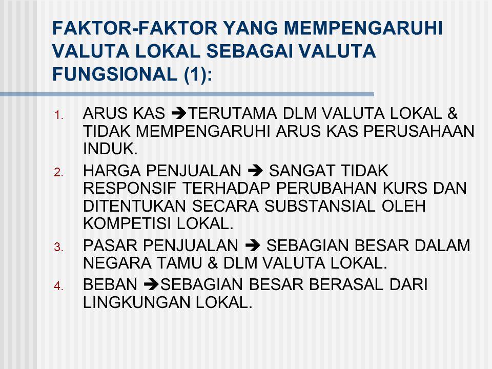 FAKTOR-FAKTOR YANG MEMPENGARUHI VALUTA PERUSAHAAN INDUK SEBAGAI VALUTA FUNGSIONAL (2): 5. PEMBIAYAAN  TERUTAMA DARI PERUSAHAAN INDUK ATAU BERGANTUNG