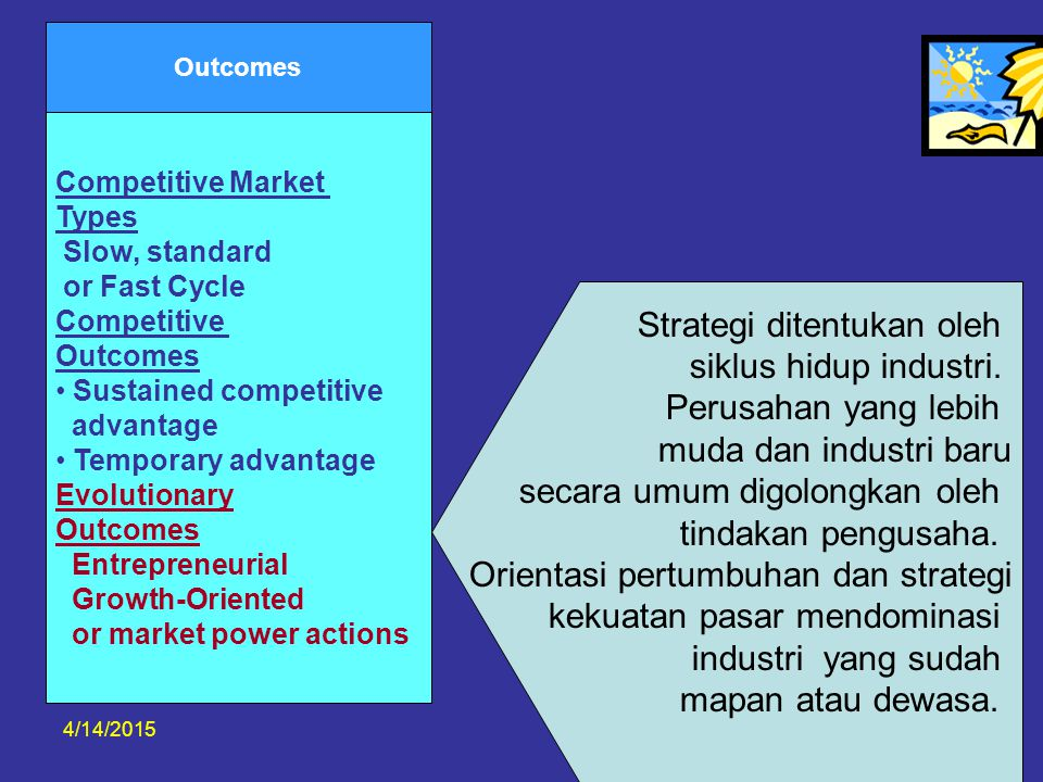 4/14/201532 Outcomes Competitive Market Types Slow, standard or Fast Cycle Competitive Outcomes Sustained competitive advantage Temporary advantage Ev