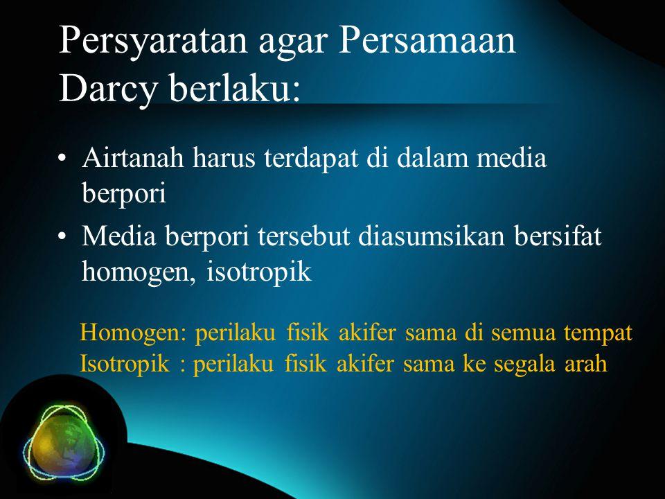 Persyaratan agar Persamaan Darcy berlaku: Airtanah harus terdapat di dalam media berpori Media berpori tersebut diasumsikan bersifat homogen, isotropi