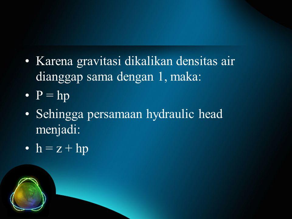 Karena gravitasi dikalikan densitas air dianggap sama dengan 1, maka: P = hp Sehingga persamaan hydraulic head menjadi: h = z + hp