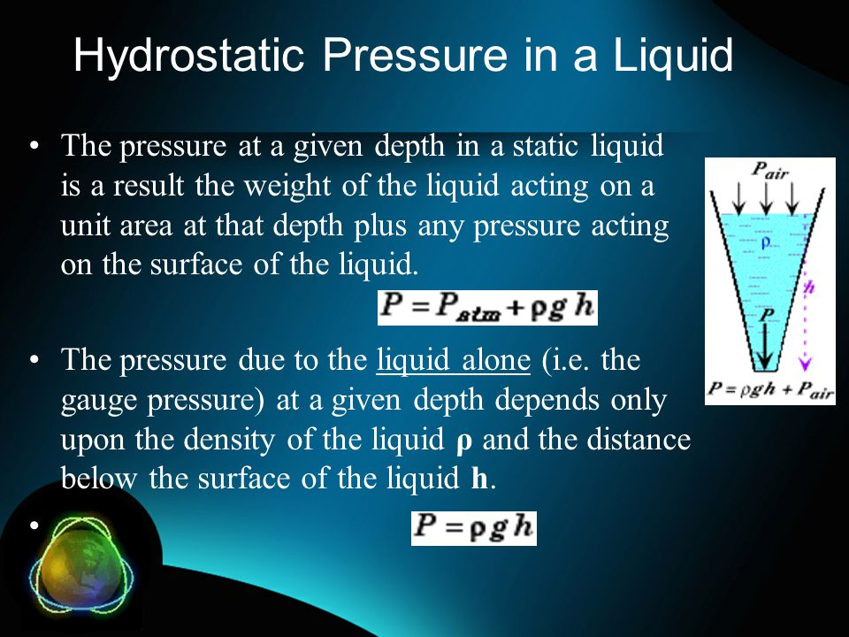 Hydrostatic Pressure in a Liquid The pressure at a given depth in a static liquid is a result the weight of the liquid acting on a unit area at that d