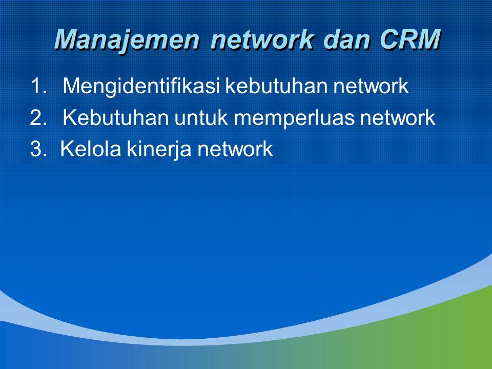 Manajemen network dan CRM 1.Mengidentifikasi kebutuhan network 2.Kebutuhan untuk memperluas network 3. Kelola kinerja network