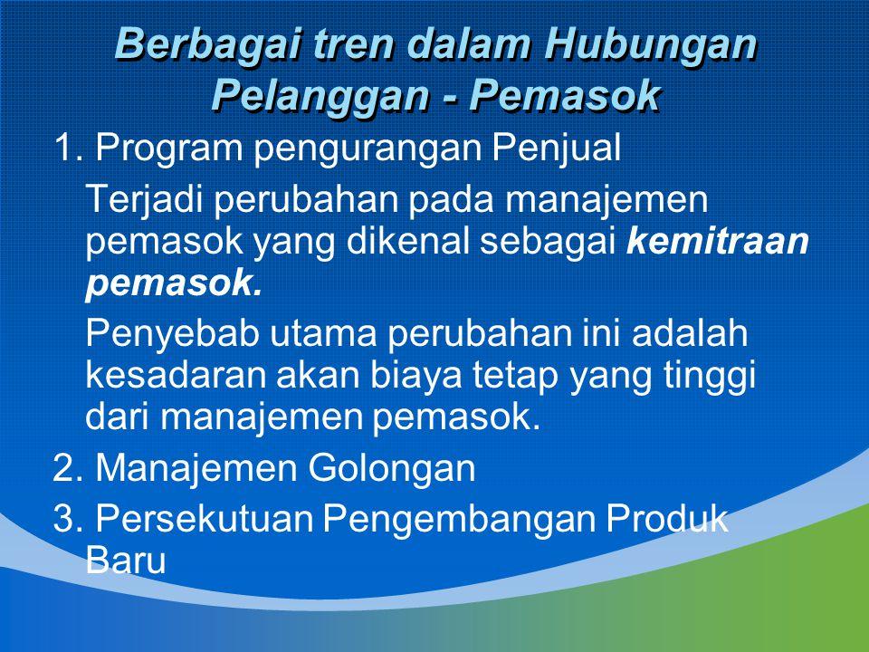 Berbagai tren dalam Hubungan Pelanggan - Pemasok 1. Program pengurangan Penjual Terjadi perubahan pada manajemen pemasok yang dikenal sebagai kemitraa
