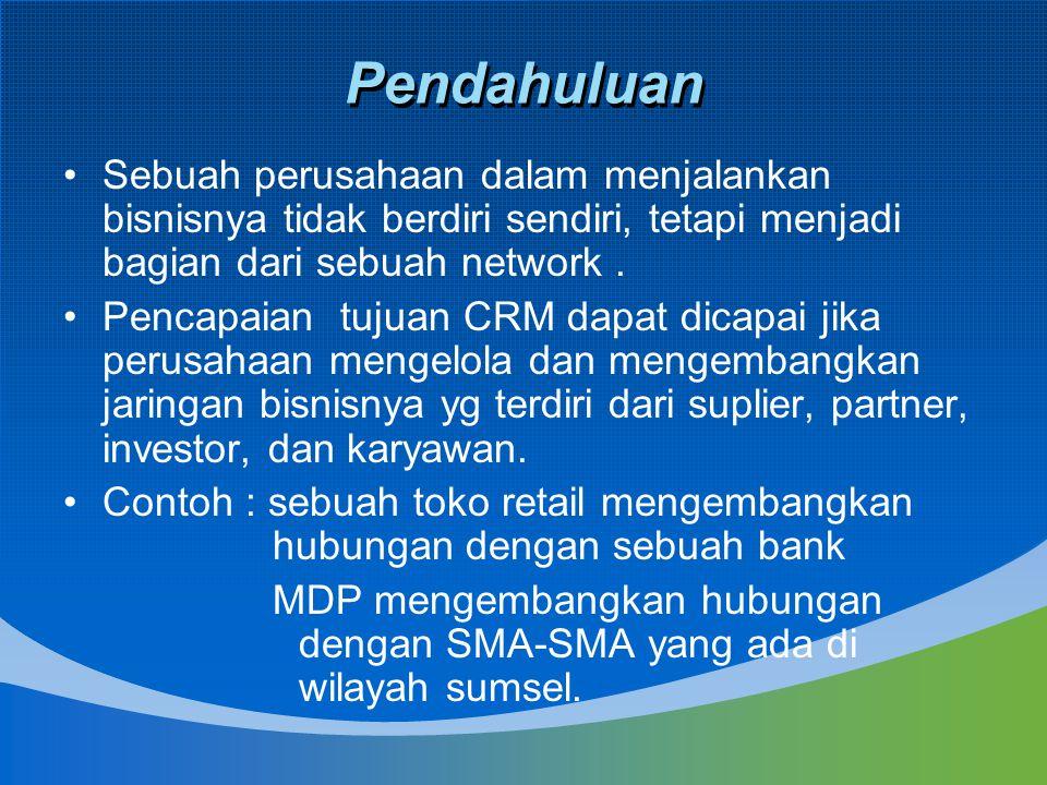 Manajemen network dan CRM 1.Mengidentifikasi kebutuhan network 2.Kebutuhan untuk memperluas network 3.