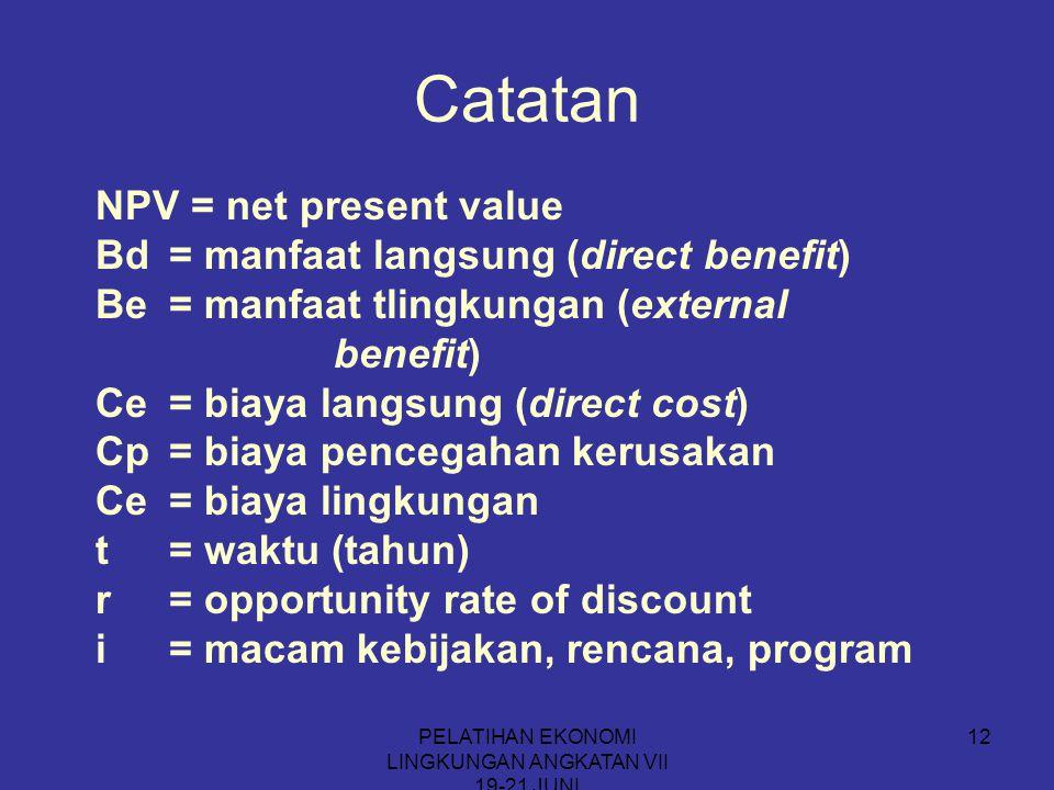 PELATIHAN EKONOMI LINGKUNGAN ANGKATAN VII 19-21 JUNI 12 Catatan NPV = net present value Bd= manfaat langsung (direct benefit) Be= manfaat tlingkungan