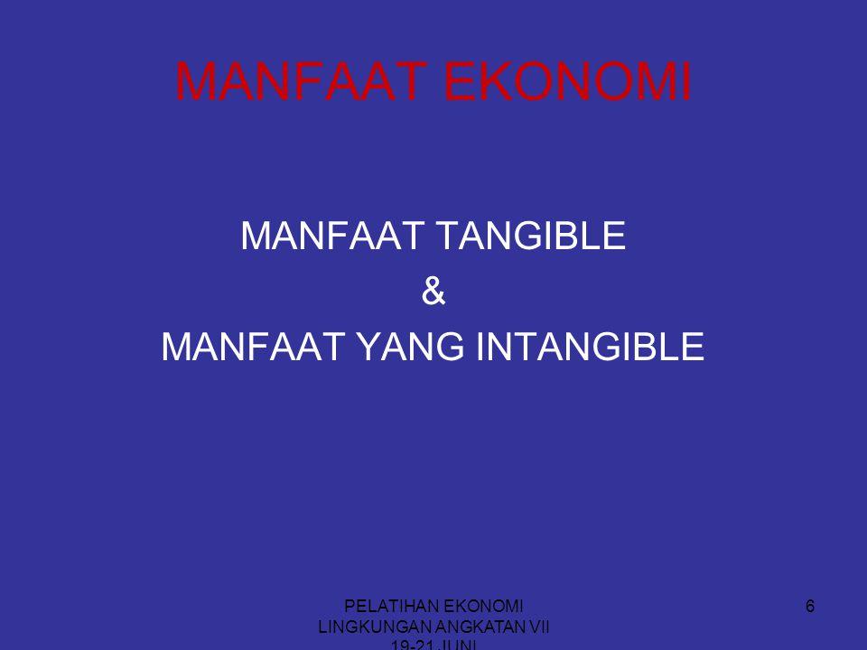 PELATIHAN EKONOMI LINGKUNGAN ANGKATAN VII 19-21 JUNI 6 MANFAAT EKONOMI MANFAAT TANGIBLE & MANFAAT YANG INTANGIBLE