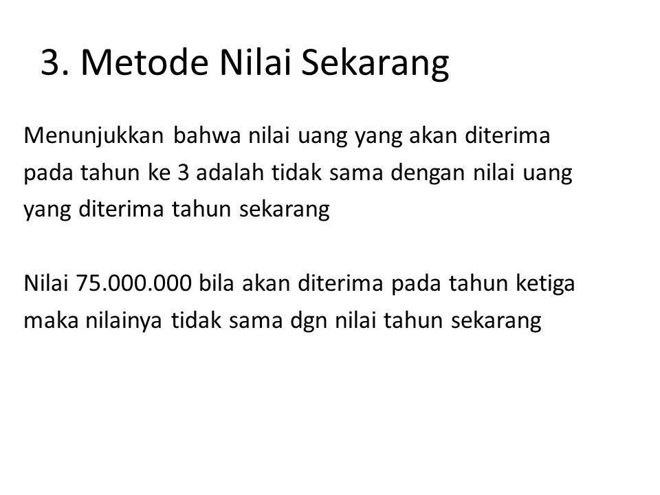 Rumus menghitung nilai sekarang Nilai Proceed (1 + sk-bunga) thn ke 75.000.000 = 75.000.000 (1 + 18%) 3 1,643 = 43.091.070
