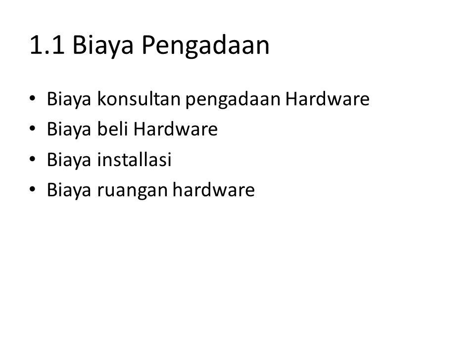 1.1 Biaya Pengadaan Biaya konsultan pengadaan Hardware Biaya beli Hardware Biaya installasi Biaya ruangan hardware