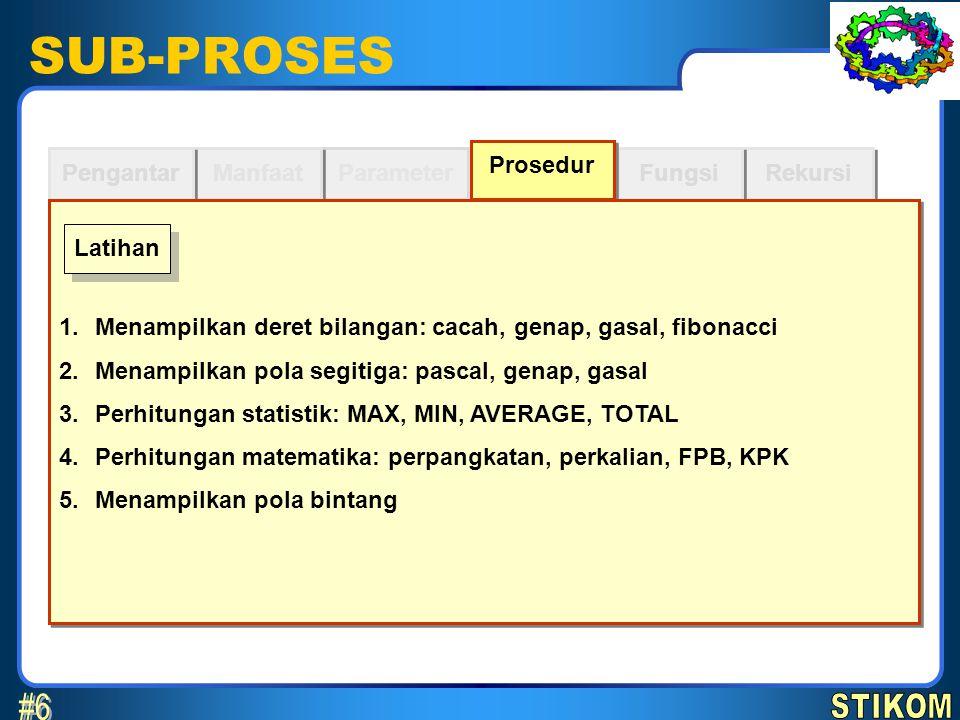 SUB-PROSES Parameter Manfaat Pengantar Rekursi Fungsi Prosedur 1.Menampilkan deret bilangan: cacah, genap, gasal, fibonacci 2.Menampilkan pola segitig