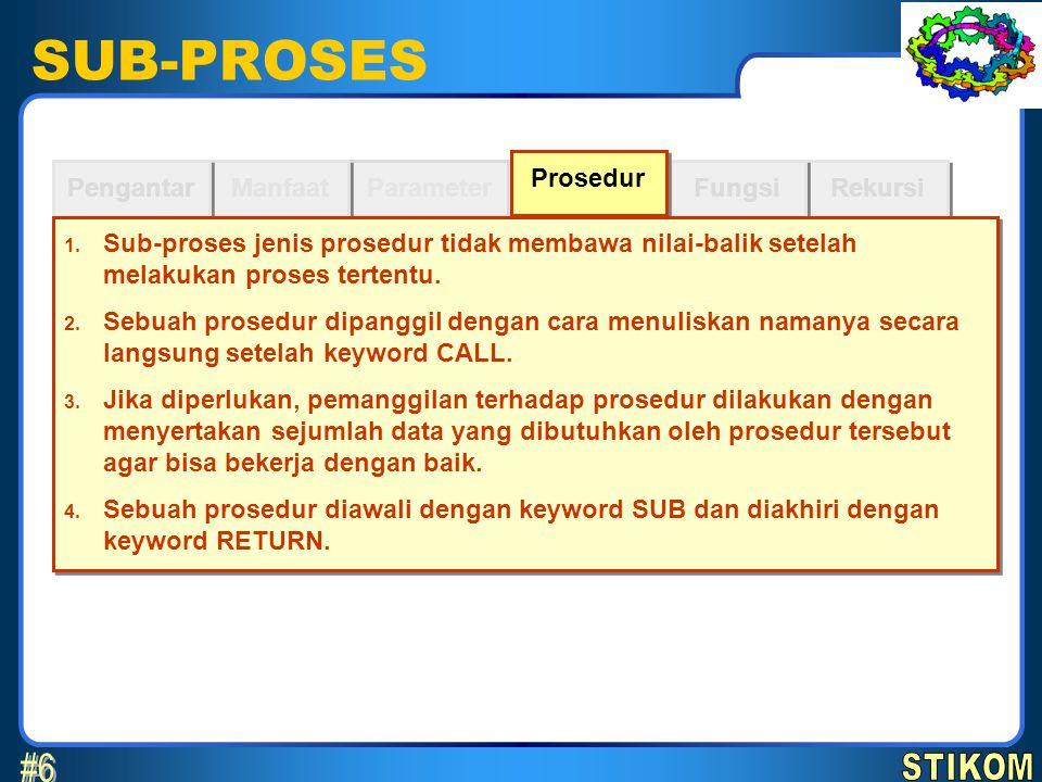 SUB-PROSES Parameter Manfaat Pengantar Rekursi Fungsi Prosedur instruksi RETURN SUB namaProsedur (parameter1, parameter2, …)