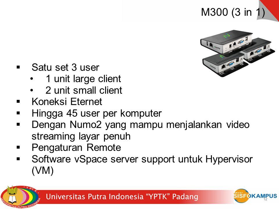 12 M300 (3 in 1) 12  Satu set 3 user 1 unit large client 2 unit small client  Koneksi Eternet  Hingga 45 user per komputer  Dengan Numo2 yang mamp
