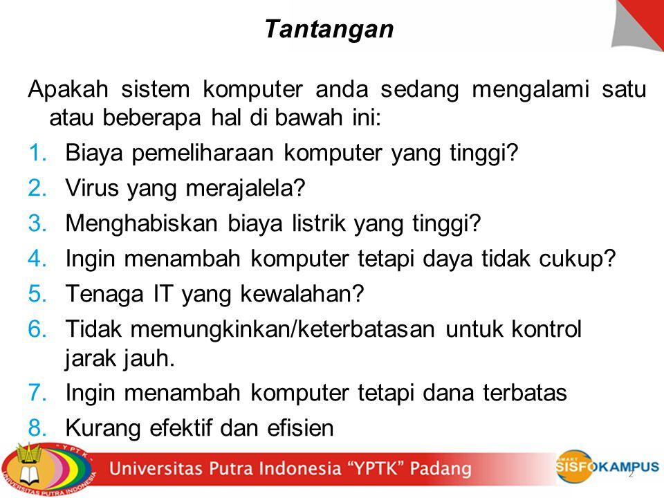 23 SMUN 112 - Jakarta Tantangannya adalah : 1.Pemakaian komputer di sekolah tetap efisien tetapi tidak menghabiskan biaya listrik yang tinggi 2.Kelas nyaman agar siswa dapat menyerap pelajaran lebih baik 3.Siswa memakai komputer bergantian 23