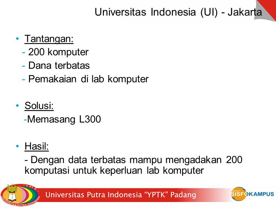 22 Universitas Indonesia (UI) - Jakarta Tantangan: - 200 komputer - Dana terbatas - Pemakaian di lab komputer Solusi: -Memasang L300 Hasil: - Dengan d