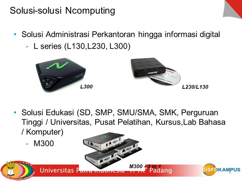9 9 L-series  Koneksi Eternet  Kabel UTP Cat5E/CAT6 ( maks 100m)  Hingga 100 user per komputer  5 watt per user  Mendukung video layar lebar (1440x900) ; L300 (1920x1080)  4 port USB (L300)  Mampu diaplikasikan di lingkungan citrix dan vmware (L300)  Support OS Windows Multipoint server 2011  Termasuk software virtualisasi vSpace  Automatic Failover and Load Balancing (L300)  Automated Deployment and Management Tools - Clone the setup (L300) L230/L130 L300