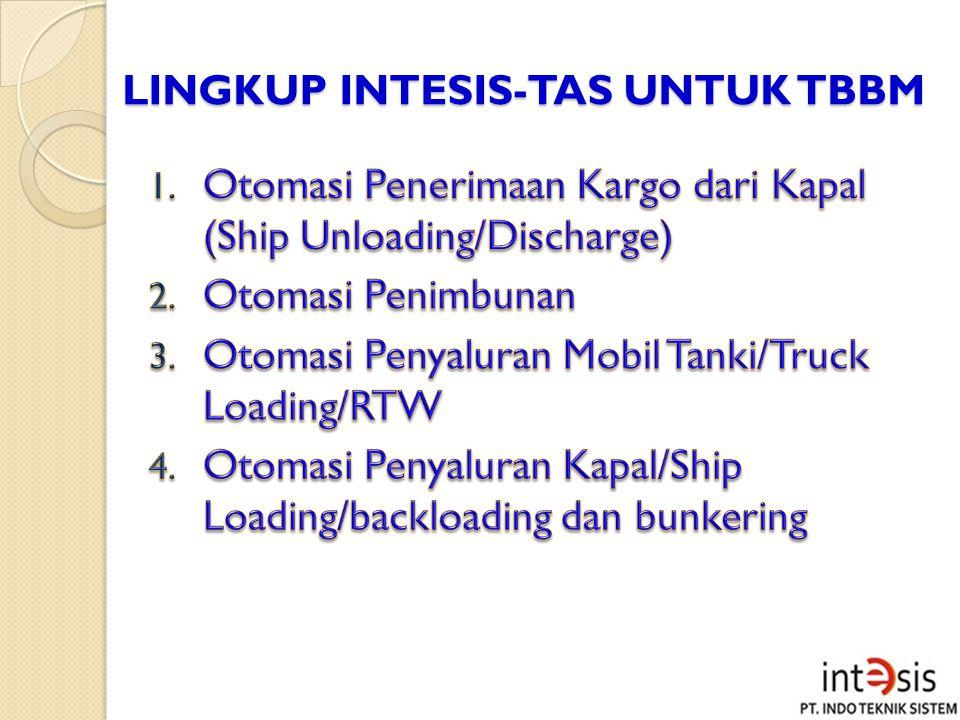 MANFAAT PENERAPAN INTESIS-TAS (TERMINAL AUTOMATION SYSTEM) Kegiatan operasional dan administrasi di Terminal BBM dikendalikan oleh sistem otomasi.