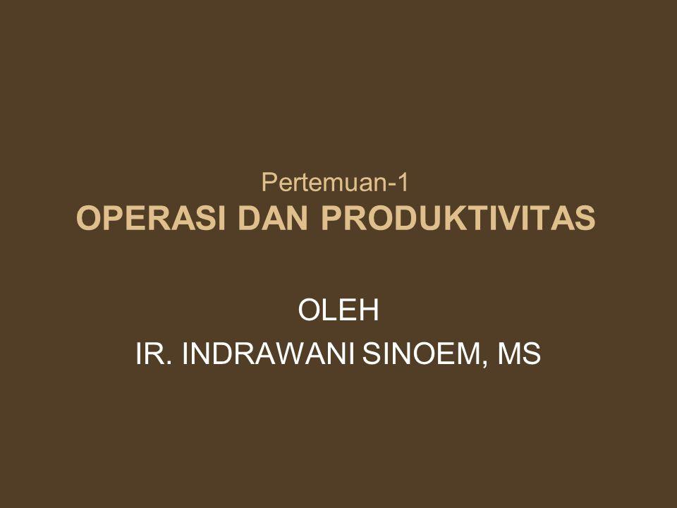 Pertemuan-1 OPERASI DAN PRODUKTIVITAS OLEH IR. INDRAWANI SINOEM, MS