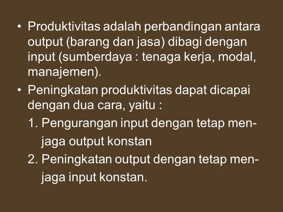Produktivitas adalah perbandingan antara output (barang dan jasa) dibagi dengan input (sumberdaya : tenaga kerja, modal, manajemen). Peningkatan produ