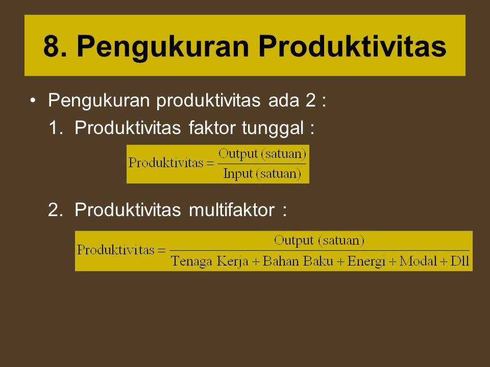 8. Pengukuran Produktivitas Pengukuran produktivitas ada 2 : 1. Produktivitas faktor tunggal : 2. Produktivitas multifaktor :