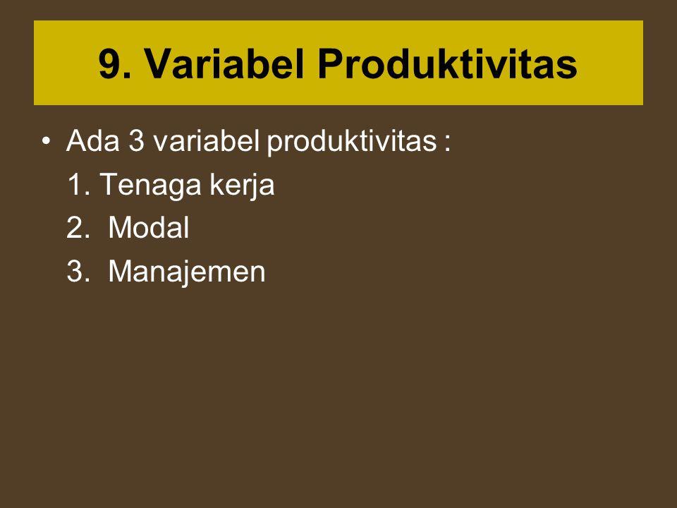 9. Variabel Produktivitas Ada 3 variabel produktivitas : 1. Tenaga kerja 2. Modal 3. Manajemen
