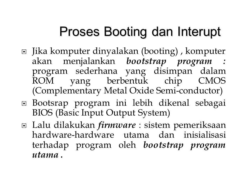 Jika komputer dinyalakan (booting), komputer akan menjalankan bootstrap program : program sederhana yang disimpan dalam ROM yang berbentuk chip CMOS (Complementary Metal Oxide Semi-conductor)   Bootsrap program ini lebih dikenal sebagai BIOS (Basic Input Output System)   Lalu dilakukan firmware : sistem pemeriksaan hardware-hardware utama dan inisialisasi terhadap program oleh bootstrap program utama.