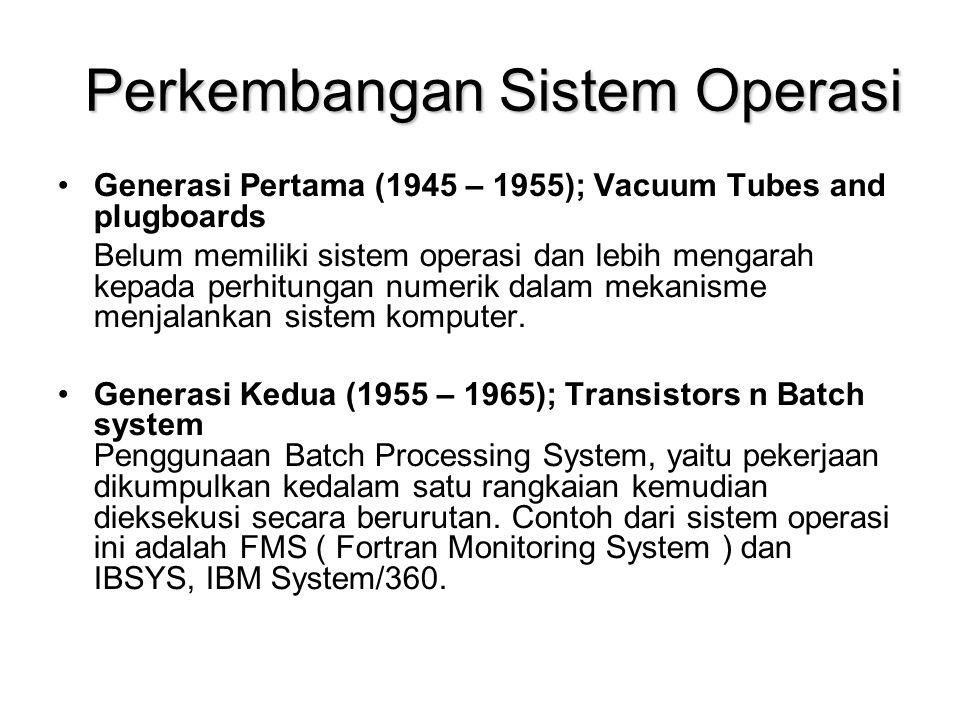 Perkembangan Sistem Operasi Generasi Pertama (1945 – 1955); Vacuum Tubes and plugboards Belum memiliki sistem operasi dan lebih mengarah kepada perhitungan numerik dalam mekanisme menjalankan sistem komputer.