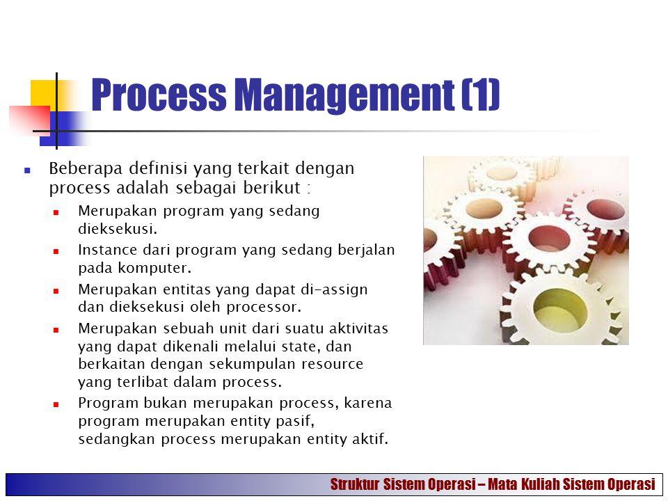 Process Management (1) Beberapa definisi yang terkait dengan process adalah sebagai berikut : Merupakan program yang sedang dieksekusi. Instance dari