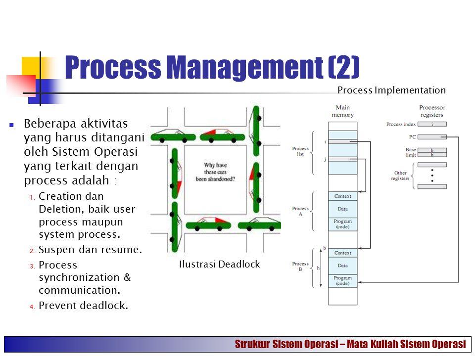 Process Management (2) Beberapa aktivitas yang harus ditangani oleh Sistem Operasi yang terkait dengan process adalah : 1. Creation dan Deletion, baik