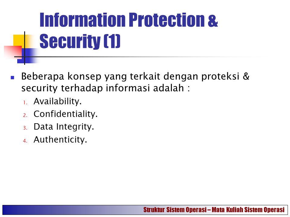 Information Protection & Security (1) Beberapa konsep yang terkait dengan proteksi & security terhadap informasi adalah : 1. Availability. 2. Confiden