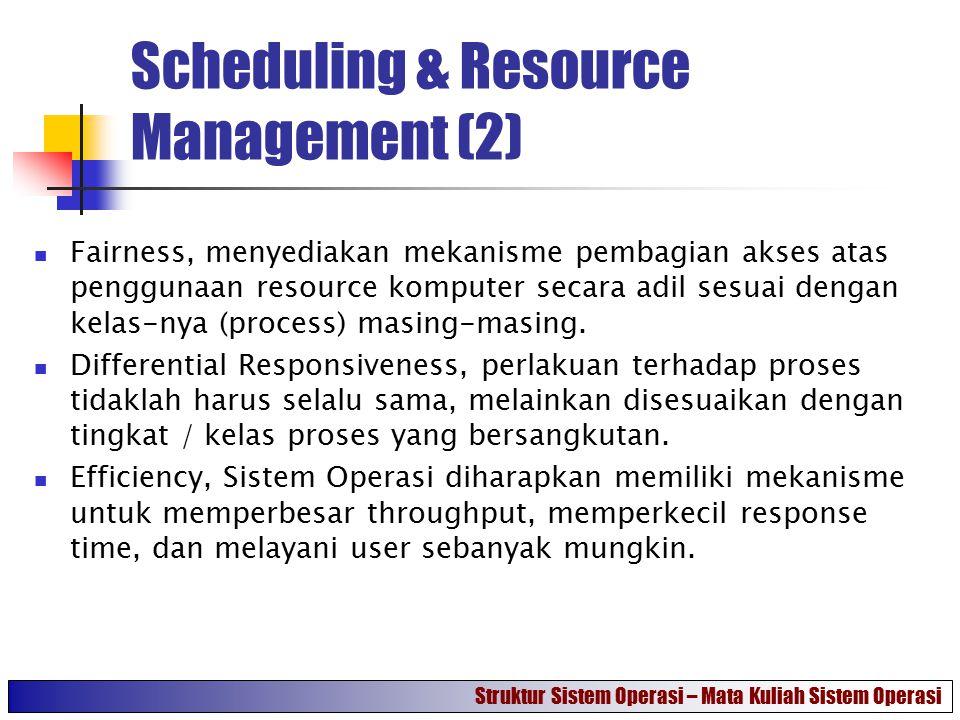 Scheduling & Resource Management (3) Gambar di samping merupakan gambaran daripada Sistem Operasi khususnya yang berkaitan dengan process scheduling & resource allocation.