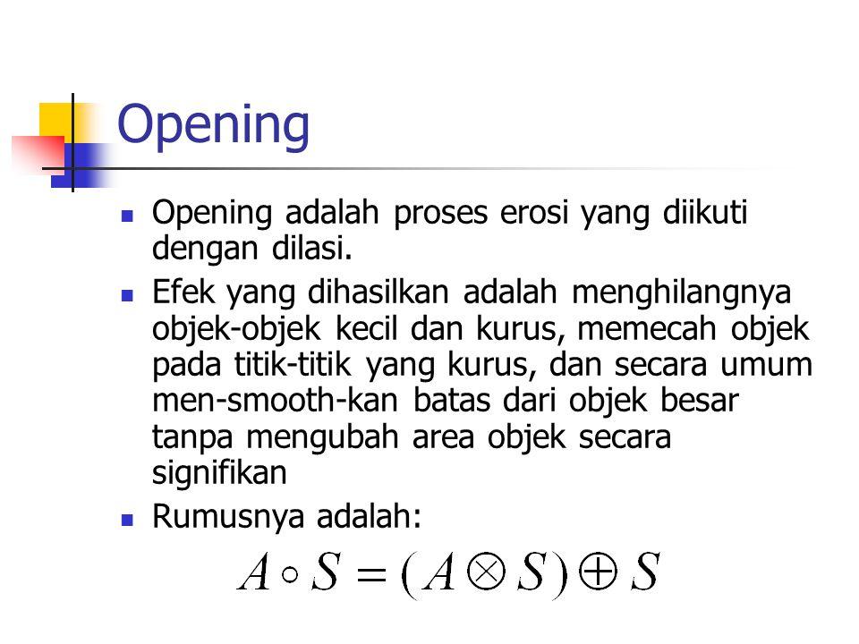 Opening Opening adalah proses erosi yang diikuti dengan dilasi.