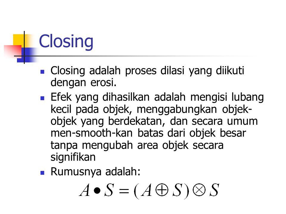 Closing Closing adalah proses dilasi yang diikuti dengan erosi.