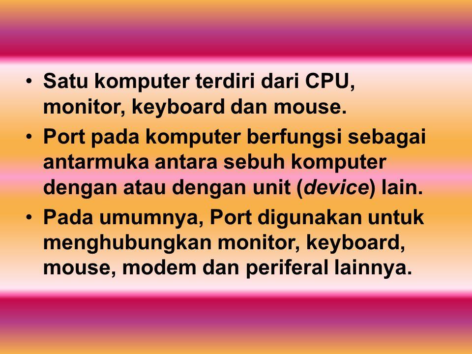 Beberapa jenis port : Port Serial, port ini memiliki sembilan pin yang digunakan untuk menghubungkan mouse, joystick, dan modem eksternal.