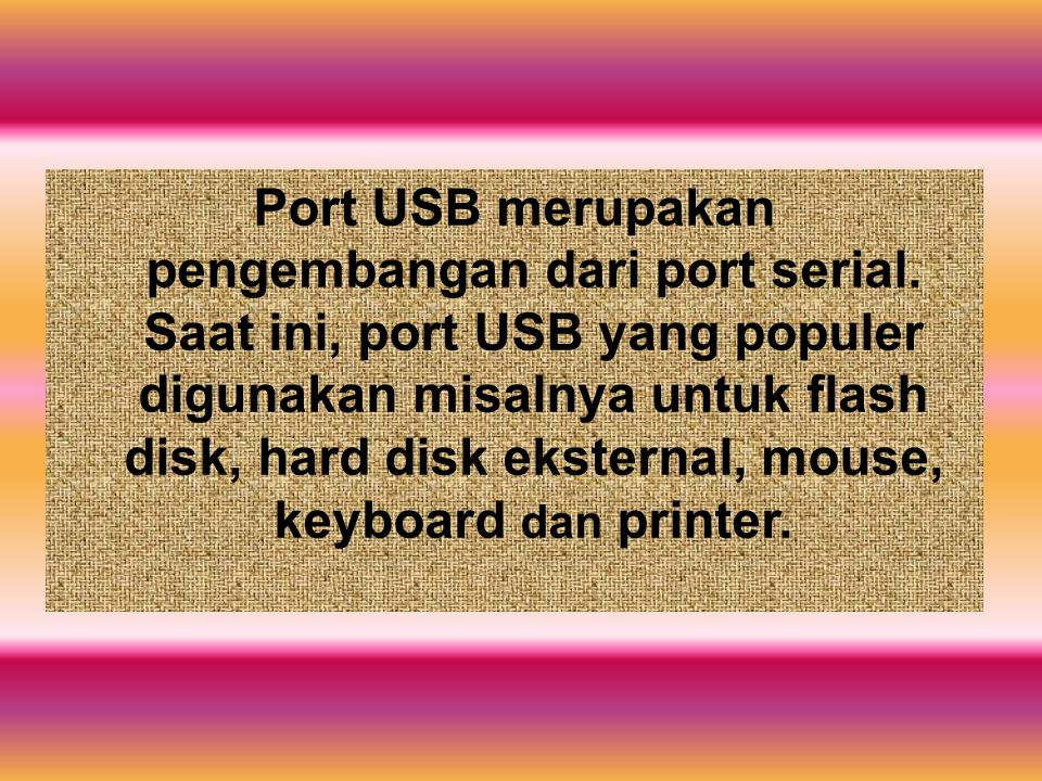 Port USB merupakan pengembangan dari port serial. Saat ini, port USB yang populer digunakan misalnya untuk flash disk, hard disk eksternal, mouse, key