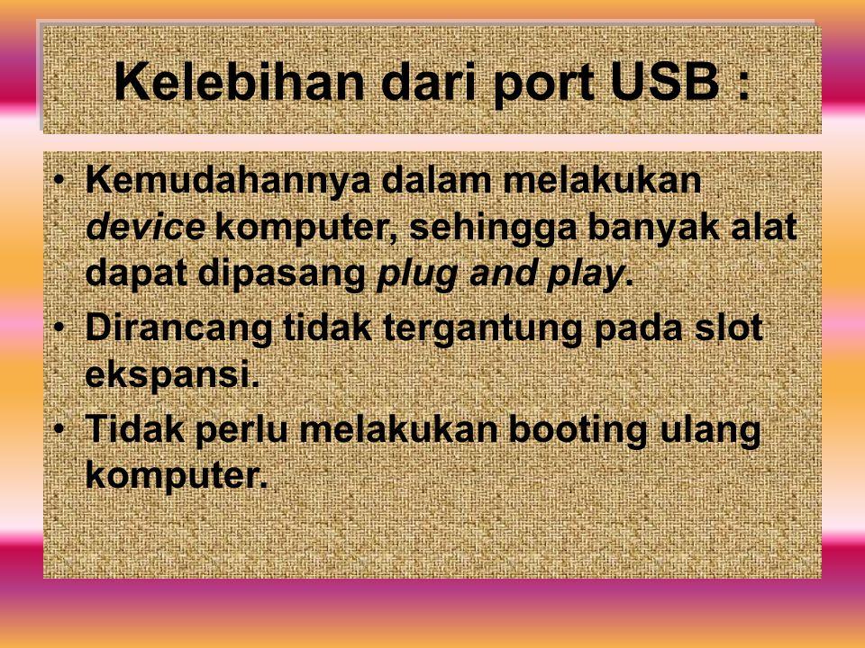 Kelebihan dari port USB : Kemudahannya dalam melakukan device komputer, sehingga banyak alat dapat dipasang plug and play. Dirancang tidak tergantung