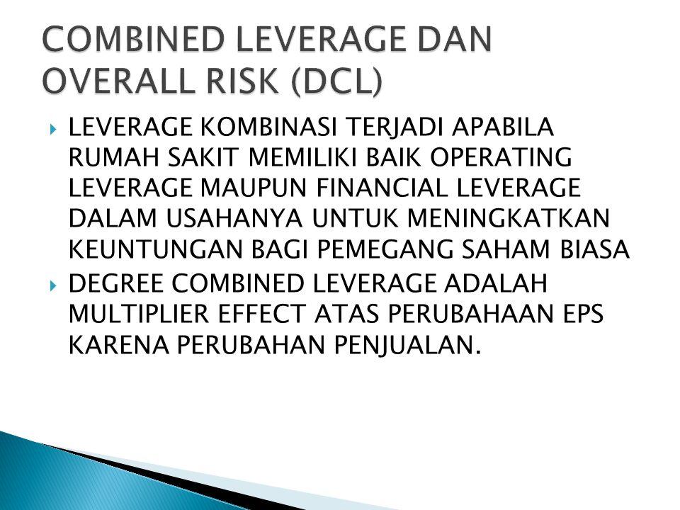  LEVERAGE KOMBINASI TERJADI APABILA RUMAH SAKIT MEMILIKI BAIK OPERATING LEVERAGE MAUPUN FINANCIAL LEVERAGE DALAM USAHANYA UNTUK MENINGKATKAN KEUNTUNGAN BAGI PEMEGANG SAHAM BIASA  DEGREE COMBINED LEVERAGE ADALAH MULTIPLIER EFFECT ATAS PERUBAHAAN EPS KARENA PERUBAHAN PENJUALAN.