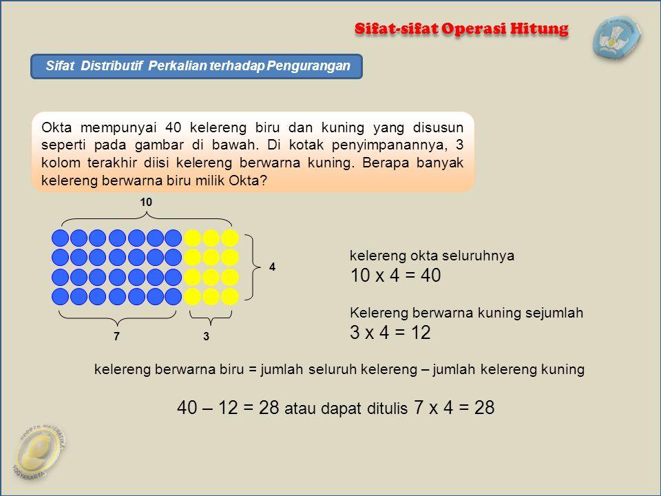 Okta mempunyai 40 kelereng biru dan kuning yang disusun seperti pada gambar di bawah. Di kotak penyimpanannya, 3 kolom terakhir diisi kelereng berwarn