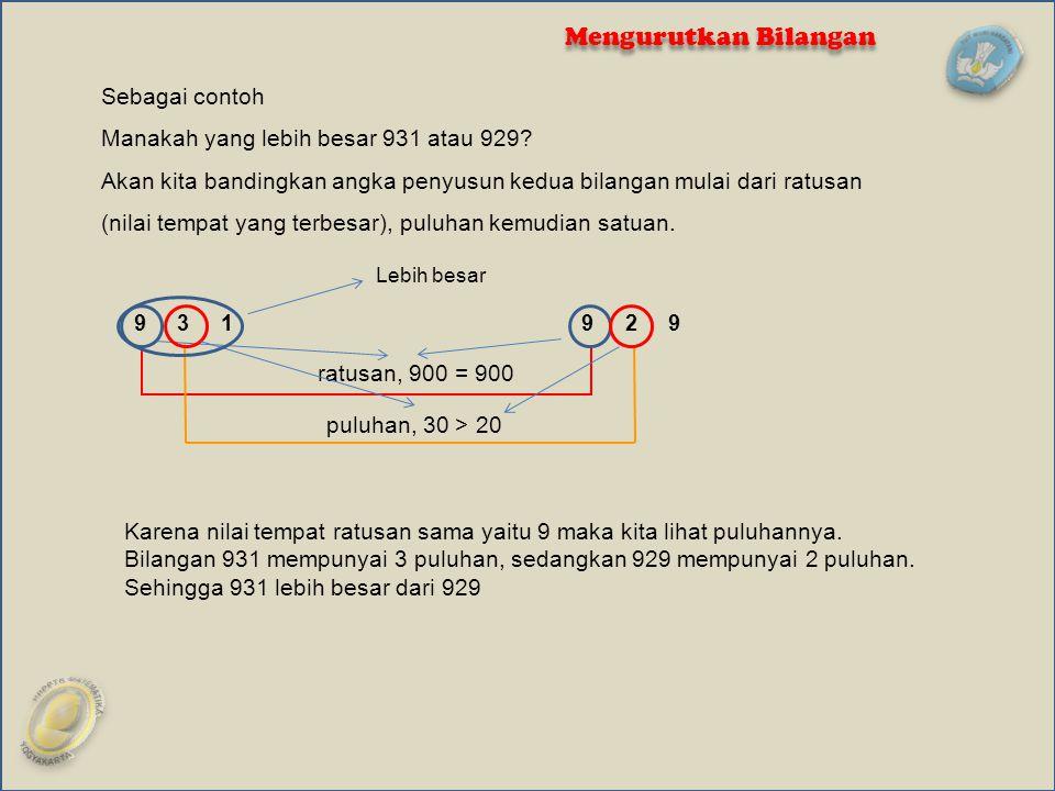 Sebagai contoh Manakah yang lebih besar 931 atau 929? Akan kita bandingkan angka penyusun kedua bilangan mulai dari ratusan (nilai tempat yang terbesa