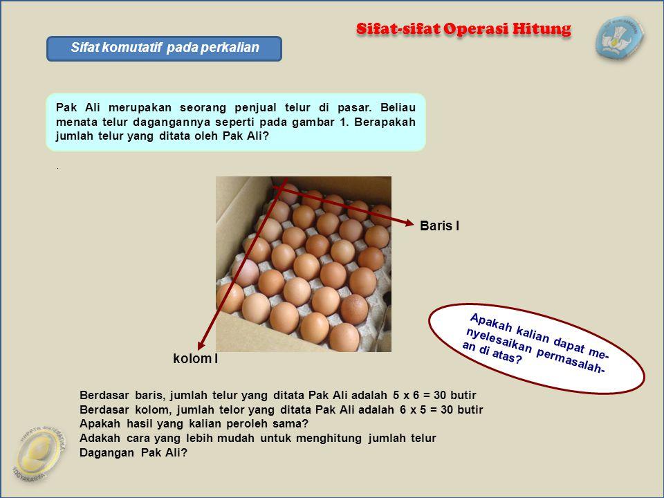 Pak Ali merupakan seorang penjual telur di pasar. Beliau menata telur dagangannya seperti pada gambar 1. Berapakah jumlah telur yang ditata oleh Pak A
