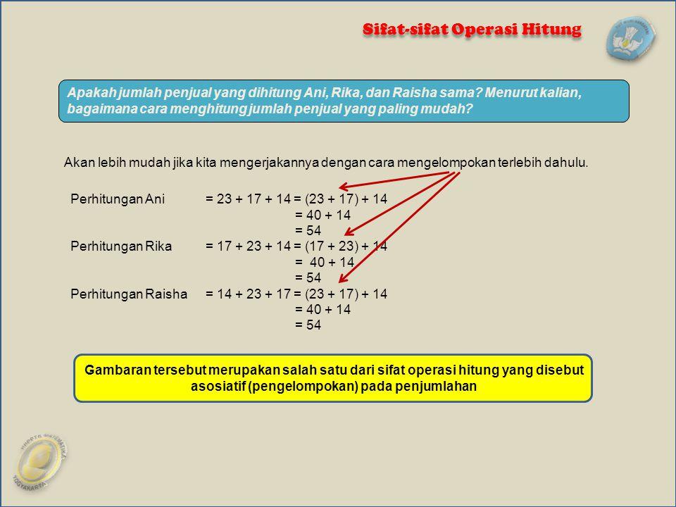 Pengelompokan dapat mempermudah perhitungan Ingat sifat komutatif dalam perkalian 14 × 2 × 5 = 14 × (2 × 5 ) = 14 × 10 = 140 4 × 7 × 5= (4 × 5) × 7 = 20 × 7 = 140 Hasil penjumlahan untuk setiap tiga bilangan atau lebih tidak berubah jika dikelompokkan secara berlainan.